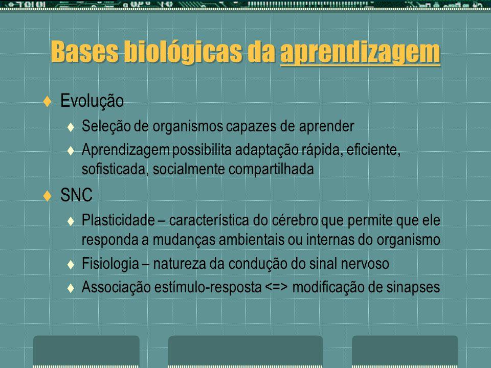 Bases biológicas da aprendizagem Evolução Seleção de organismos capazes de aprender Aprendizagem possibilita adaptação rápida, eficiente, sofisticada,