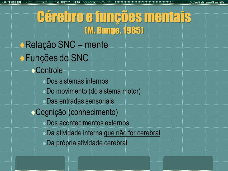 Cérebro e funções mentais (M. Bunge, 1985) Relação SNC – mente Funções do SNC Controle Dos sistemas internos Do movimento (do sistema motor) Das entra