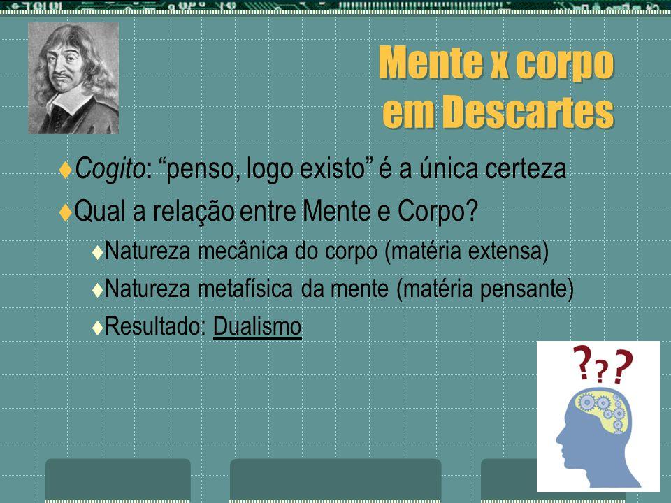 Mente x corpo em Descartes Cogito : penso, logo existo é a única certeza Qual a relação entre Mente e Corpo? Natureza mecânica do corpo (matéria exten