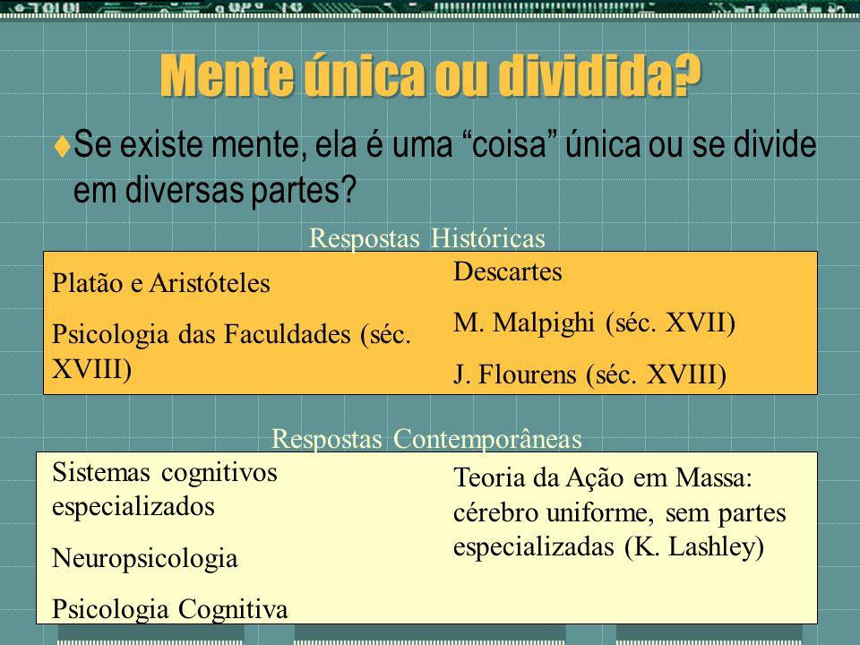 Mente única ou dividida? Se existe mente, ela é uma coisa única ou se divide em diversas partes? Platão e Aristóteles Psicologia das Faculdades (séc.