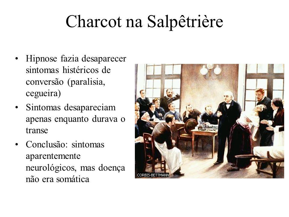 Charcot na Salpêtrière Hipnose fazia desaparecer sintomas histéricos de conversão (paralisia, cegueira) Sintomas desapareciam apenas enquanto durava o transe Conclusão: sintomas aparentemente neurológicos, mas doença não era somática