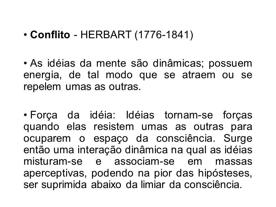 Conflito - HERBART (1776-1841) As idéias da mente são dinâmicas; possuem energia, de tal modo que se atraem ou se repelem umas as outras.