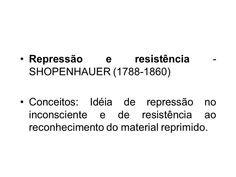 Repressão e resistência - SHOPENHAUER (1788-1860) Conceitos: Idéia de repressão no inconsciente e de resistência ao reconhecimento do material reprimido.