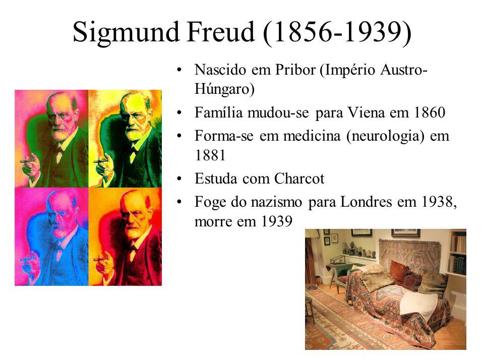 Sigmund Freud (1856-1939) Nascido em Pribor (Império Austro- Húngaro) Família mudou-se para Viena em 1860 Forma-se em medicina (neurologia) em 1881 Estuda com Charcot Foge do nazismo para Londres em 1938, morre em 1939