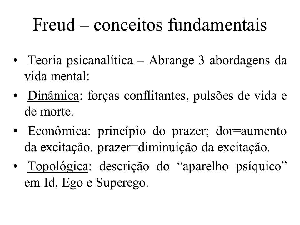 Freud – conceitos fundamentais Teoria psicanalítica – Abrange 3 abordagens da vida mental: Dinâmica: forças conflitantes, pulsões de vida e de morte.