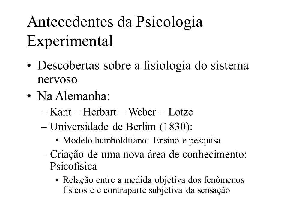 Descobertas sobre a fisiologia do sistema nervoso Na Alemanha: –Kant – Herbart – Weber – Lotze –Universidade de Berlim (1830): Modelo humboldtiano: En