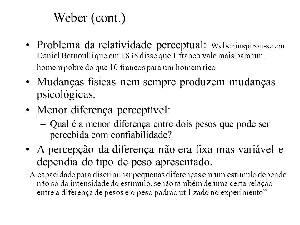 Problema da relatividade perceptual: Weber inspirou-se em Daniel Bernoulli que em 1838 disse que 1 franco vale mais para um homem pobre do que 10 fran