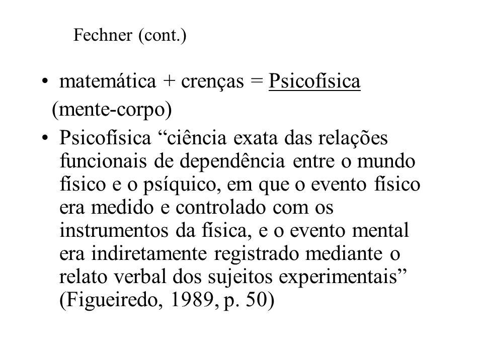 matemática + crenças = Psicofísica (mente-corpo) Psicofísica ciência exata das relações funcionais de dependência entre o mundo físico e o psíquico, e