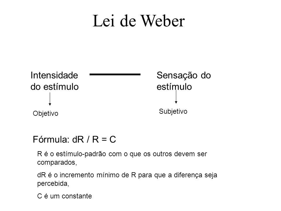 Lei de Weber Intensidade do estímulo Sensação do estímulo Objetivo Subjetivo Fórmula: dR / R = C R é o estímulo-padrão com o que os outros devem ser c