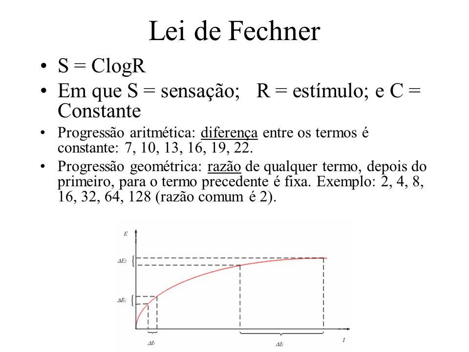 Lei de Fechner S = ClogR Em que S = sensação; R = estímulo; e C = Constante Progressão aritmética: diferença entre os termos é constante: 7, 10, 13, 1