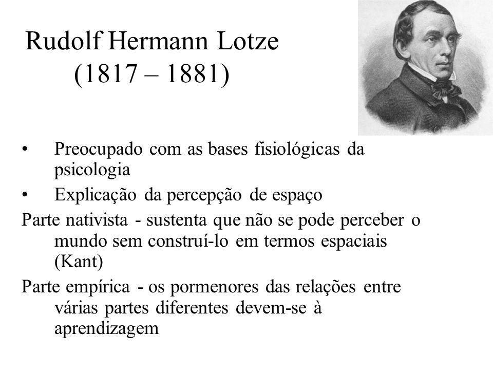 Rudolf Hermann Lotze (1817 – 1881) Preocupado com as bases fisiológicas da psicologia Explicação da percepção de espaço Parte nativista - sustenta que