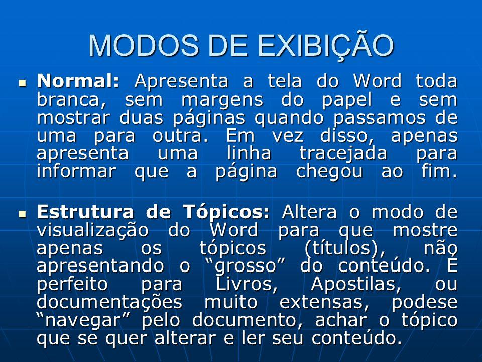 MODOS DE EXIBIÇÃO Normal: Apresenta a tela do Word toda branca, sem margens do papel e sem mostrar duas páginas quando passamos de uma para outra. Em