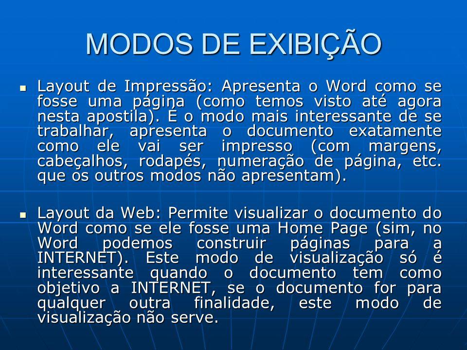 MODOS DE EXIBIÇÃO Layout de Impressão: Apresenta o Word como se fosse uma página (como temos visto até agora nesta apostila). É o modo mais interessan