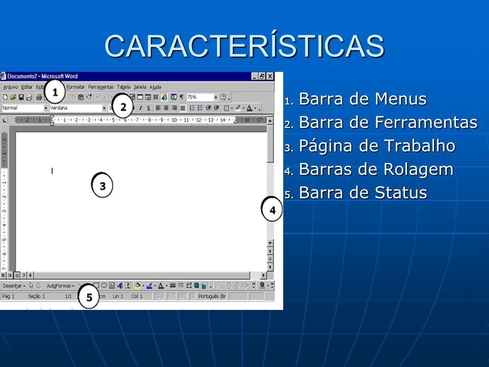 CARACTERÍSTICAS 1.Barra de Menus 2. Barra de Ferramentas 3.