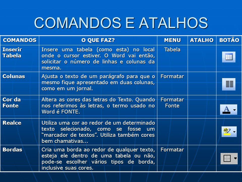 COMANDOS E ATALHOS COMANDOS O QUE FAZ? MENUATALHOBOTÃO Inserir Tabela Insere uma tabela (como esta) no local onde o cursor estiver. O Word vai então,