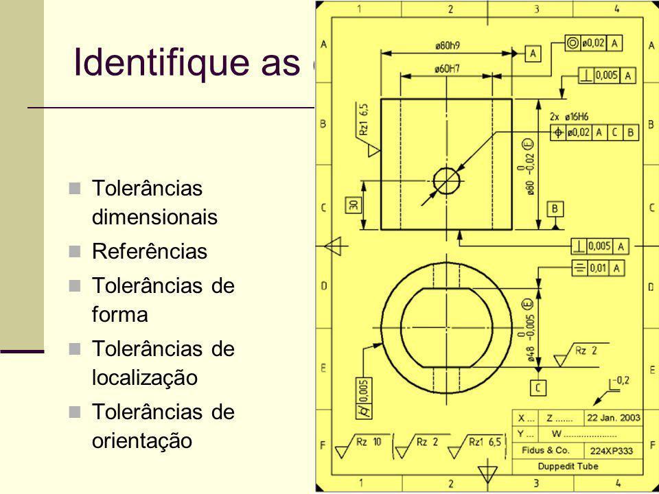15 Identifique as especificações Tolerâncias dimensionais Referências Tolerâncias de forma Tolerâncias de localização Tolerâncias de orientação