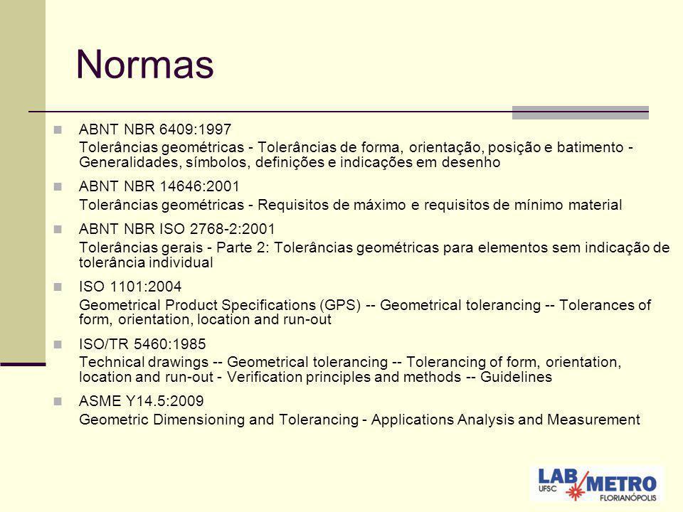 Normas ABNT NBR 6409:1997 Tolerâncias geométricas - Tolerâncias de forma, orientação, posição e batimento - Generalidades, símbolos, definições e indi