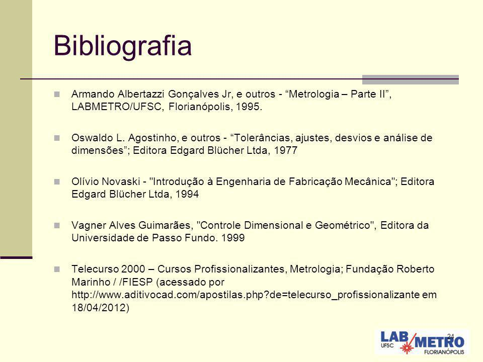 24 Bibliografia Armando Albertazzi Gonçalves Jr, e outros - Metrologia – Parte II, LABMETRO/UFSC, Florianópolis, 1995. Oswaldo L. Agostinho, e outros