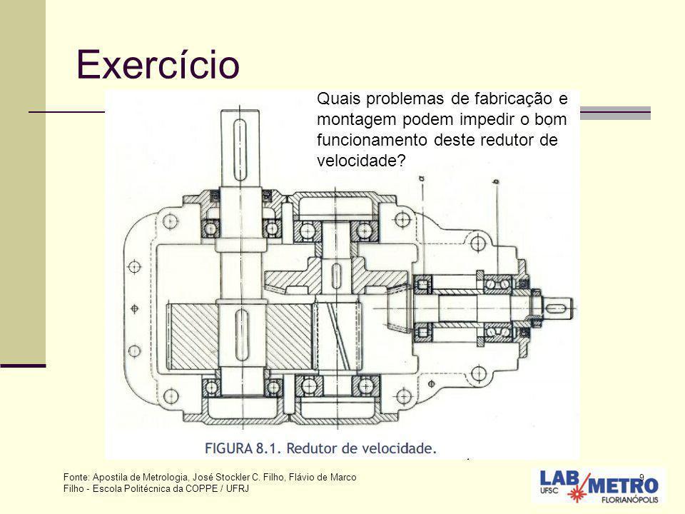 9 Exercício Quais problemas de fabricação e montagem podem impedir o bom funcionamento deste redutor de velocidade? Fonte: Apostila de Metrologia, Jos