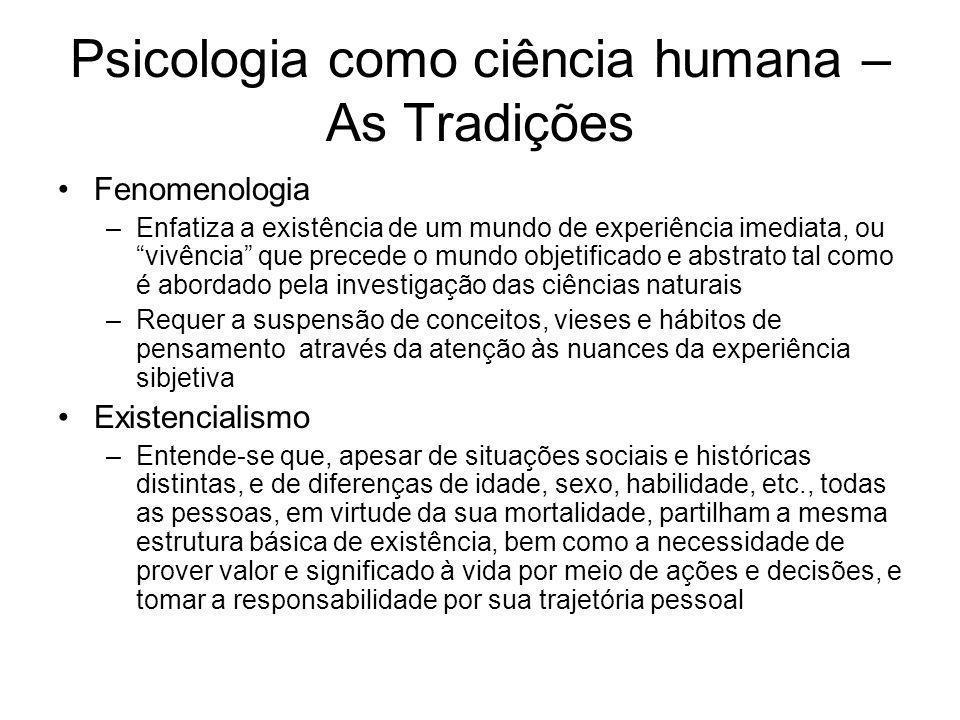Psicologia como ciência humana – As Tradições Fenomenologia –Enfatiza a existência de um mundo de experiência imediata, ou vivência que precede o mund