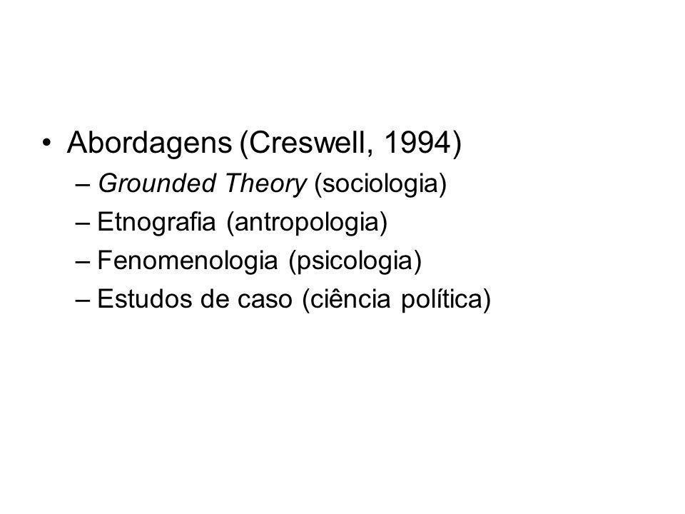 Abordagens (Creswell, 1994) –Grounded Theory (sociologia) –Etnografia (antropologia) –Fenomenologia (psicologia) –Estudos de caso (ciência política)