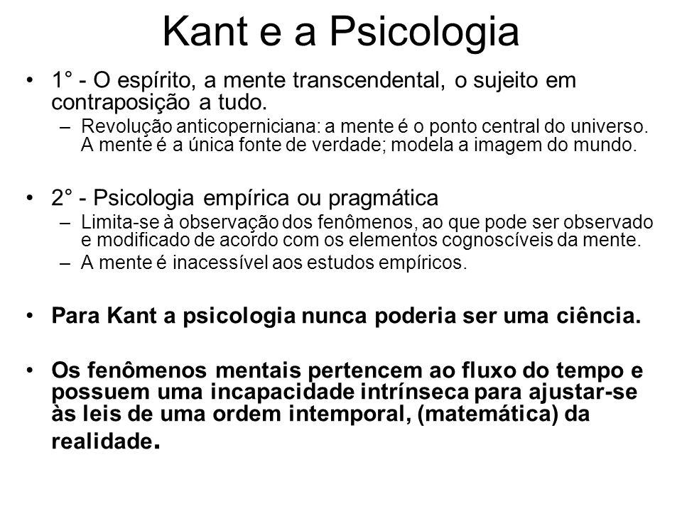 Kant e a Psicologia 1° - O espírito, a mente transcendental, o sujeito em contraposição a tudo. –Revolução anticoperniciana: a mente é o ponto central