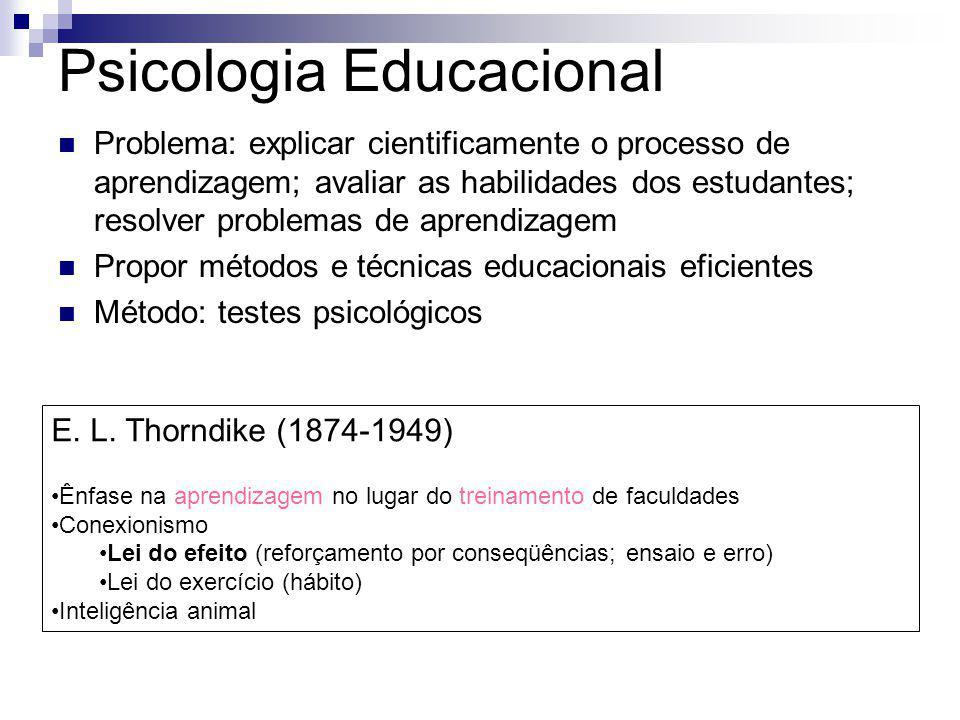 Psicologia Educacional Problema: explicar cientificamente o processo de aprendizagem; avaliar as habilidades dos estudantes; resolver problemas de apr