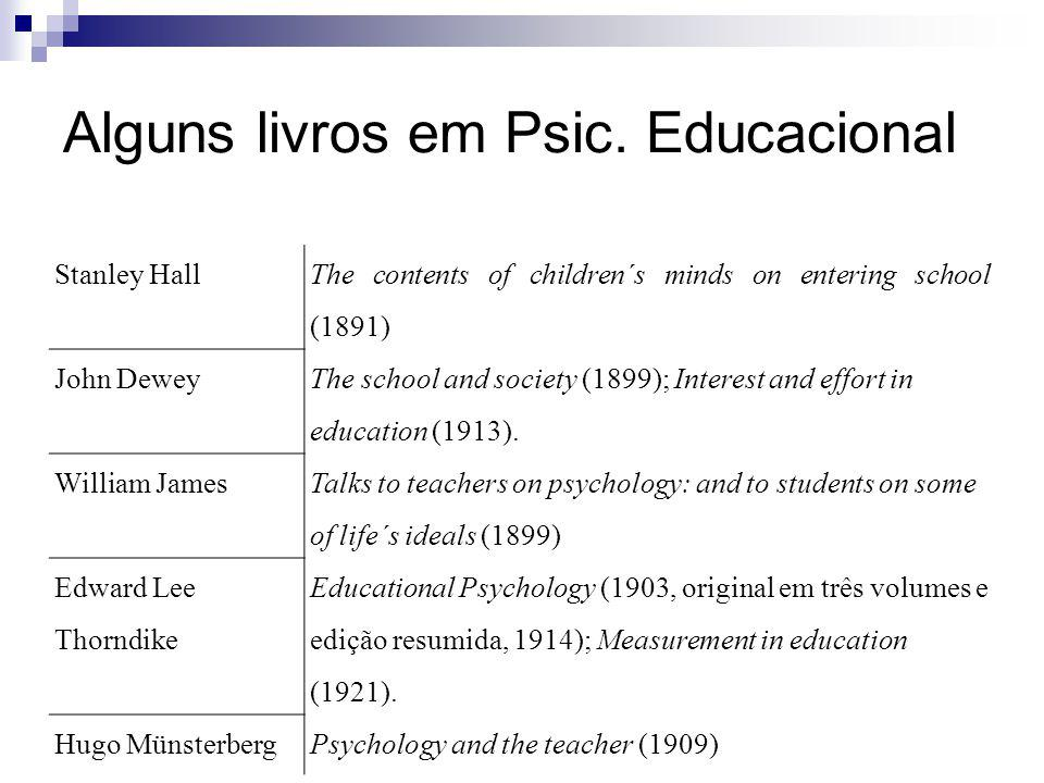 Alguns livros em Psic. Educacional Stanley Hall The contents of children´s minds on entering school (1891) John Dewey The school and society (1899); I