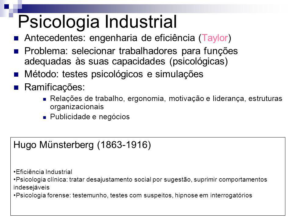 Psicologia Industrial Antecedentes: engenharia de eficiência (Taylor) Problema: selecionar trabalhadores para funções adequadas às suas capacidades (p