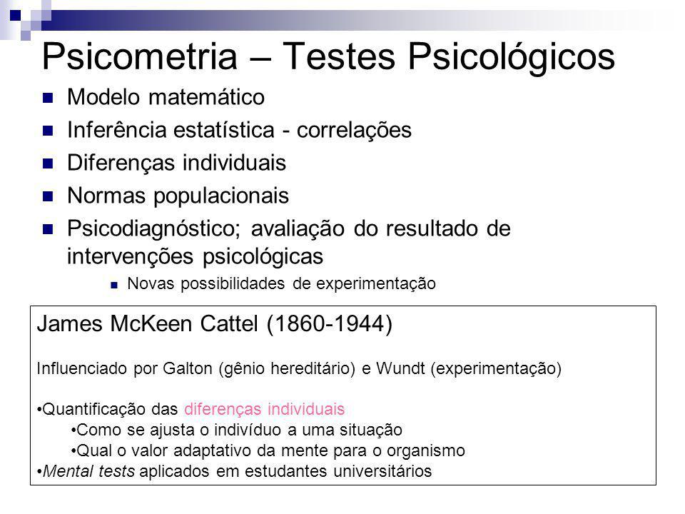 Psicometria – Testes Psicológicos Modelo matemático Inferência estatística - correlações Diferenças individuais Normas populacionais Psicodiagnóstico;