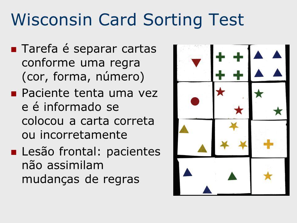 Wisconsin Card Sorting Test Tarefa é separar cartas conforme uma regra (cor, forma, número) Paciente tenta uma vez e é informado se colocou a carta correta ou incorretamente Lesão frontal: pacientes não assimilam mudanças de regras