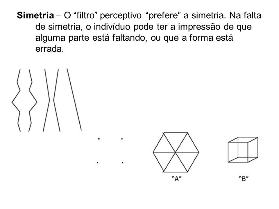 Simetria – O filtro perceptivo prefere a simetria. Na falta de simetria, o indivíduo pode ter a impressão de que alguma parte está faltando, ou que a