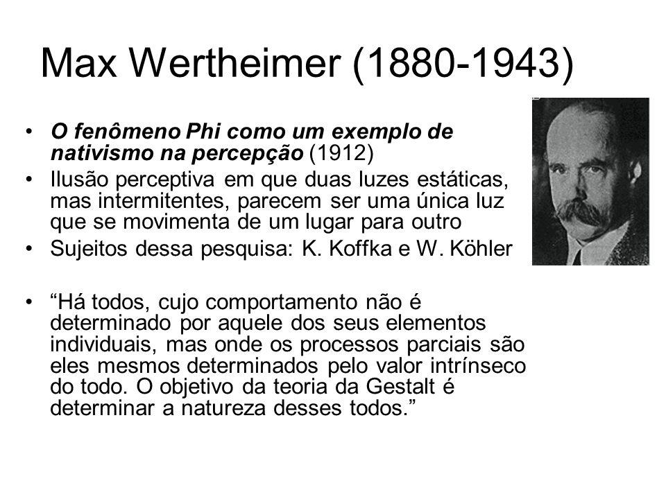 Max Wertheimer (1880-1943) O fenômeno Phi como um exemplo de nativismo na percepção (1912) Ilusão perceptiva em que duas luzes estáticas, mas intermitentes, parecem ser uma única luz que se movimenta de um lugar para outro Sujeitos dessa pesquisa: K.