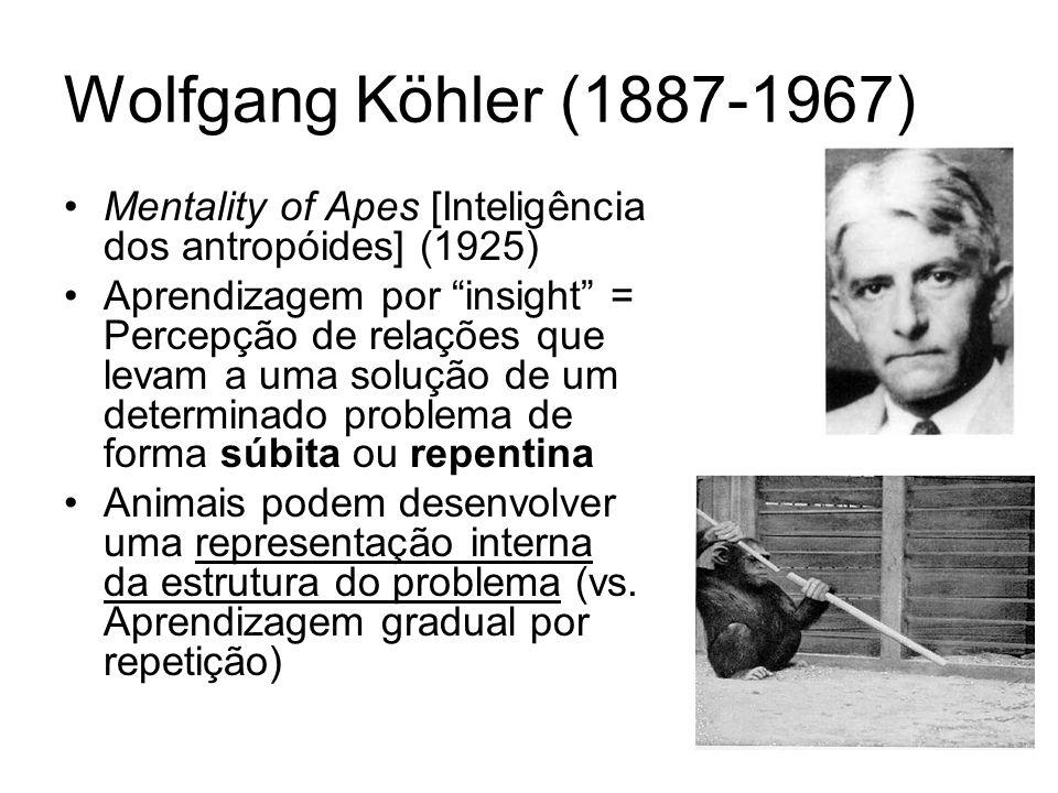 Wolfgang Köhler (1887-1967) Mentality of Apes [Inteligência dos antropóides] (1925) Aprendizagem por insight = Percepção de relações que levam a uma solução de um determinado problema de forma súbita ou repentina Animais podem desenvolver uma representação interna da estrutura do problema (vs.