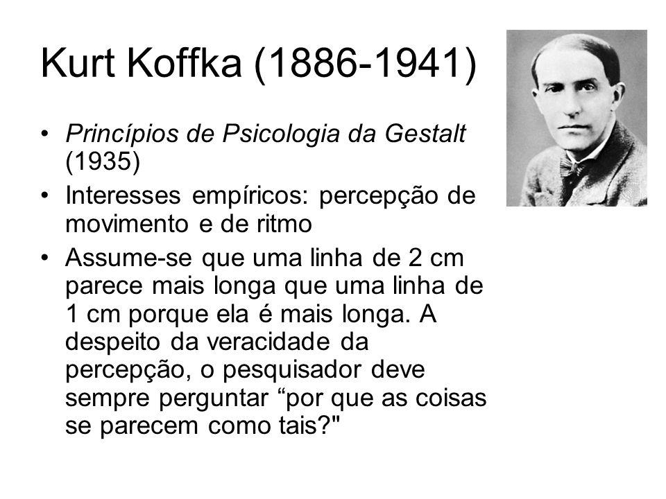 Kurt Koffka (1886-1941) Princípios de Psicologia da Gestalt (1935) Interesses empíricos: percepção de movimento e de ritmo Assume-se que uma linha de 2 cm parece mais longa que uma linha de 1 cm porque ela é mais longa.