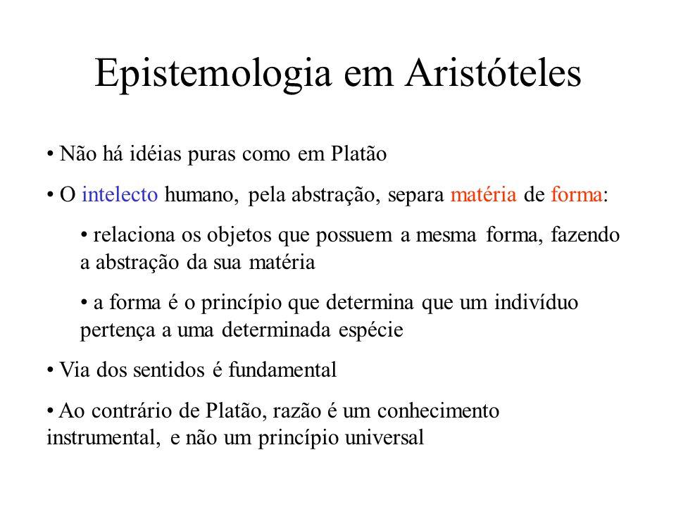 Epistemologia em Aristóteles Não há idéias puras como em Platão O intelecto humano, pela abstração, separa matéria de forma: relaciona os objetos que