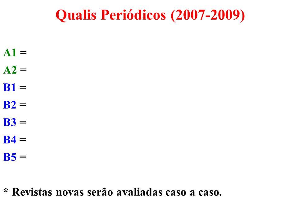 A1 = A2 = B1 = B2 = B3 = B4 = B5 = * Revistas novas serão avaliadas caso a caso. Qualis Periódicos (2007-2009)