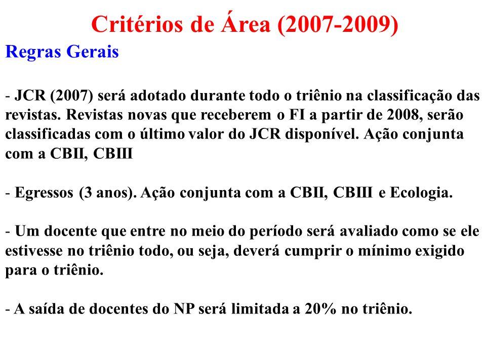 Regras Gerais - JCR (2007) será adotado durante todo o triênio na classificação das revistas. Revistas novas que receberem o FI a partir de 2008, serã