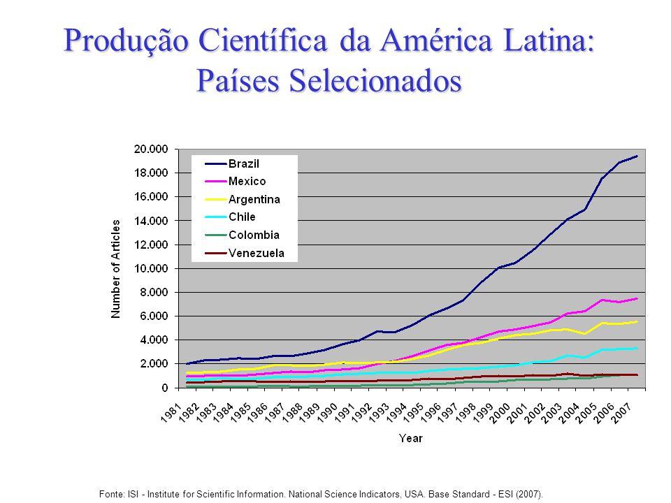 Produção Científica da América Latina: Países Selecionados Fonte: ISI - Institute for Scientific Information. National Science Indicators, USA. Base S