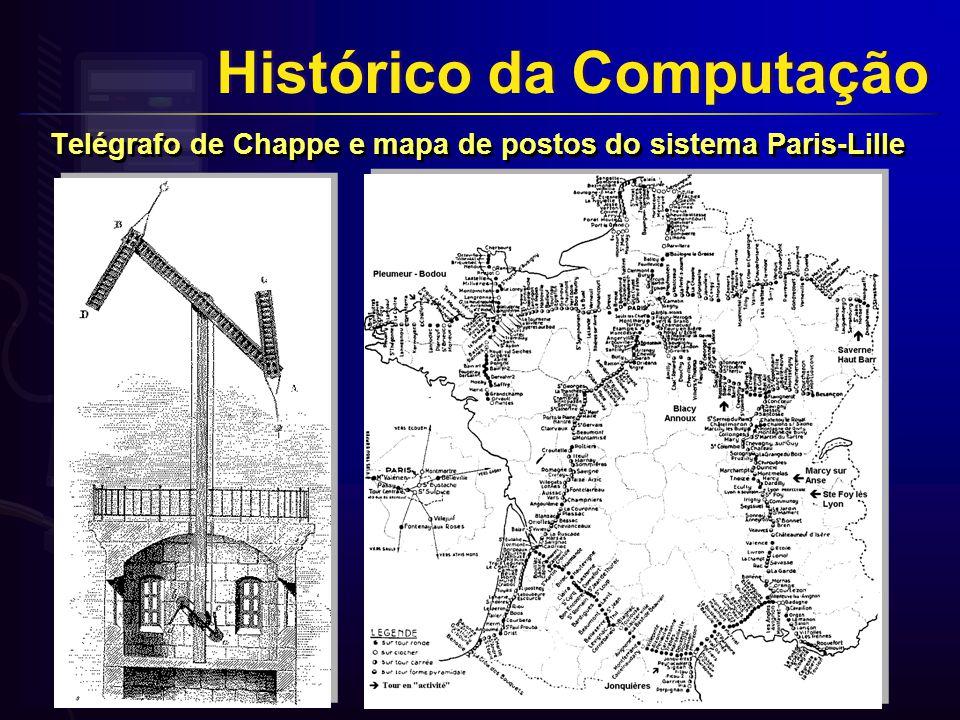 Telégrafo de Chappe e mapa de postos do sistema Paris-Lille Histórico da Computação