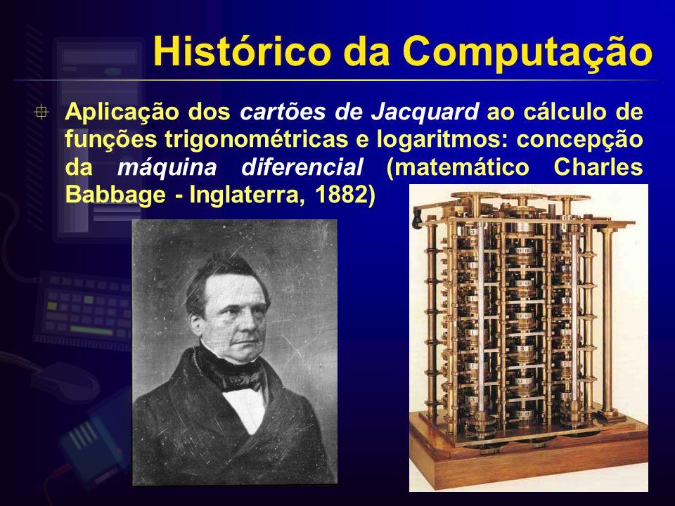 Aplicação dos cartões de Jacquard ao cálculo de funções trigonométricas e logaritmos: concepção da máquina diferencial (matemático Charles Babbage - Inglaterra, 1882) Histórico da Computação