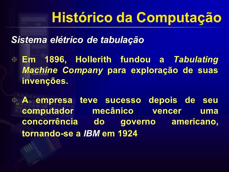 Sistema elétrico de tabulação Em 1896, Hollerith fundou a Tabulating Machine Company para exploração de suas invenções.