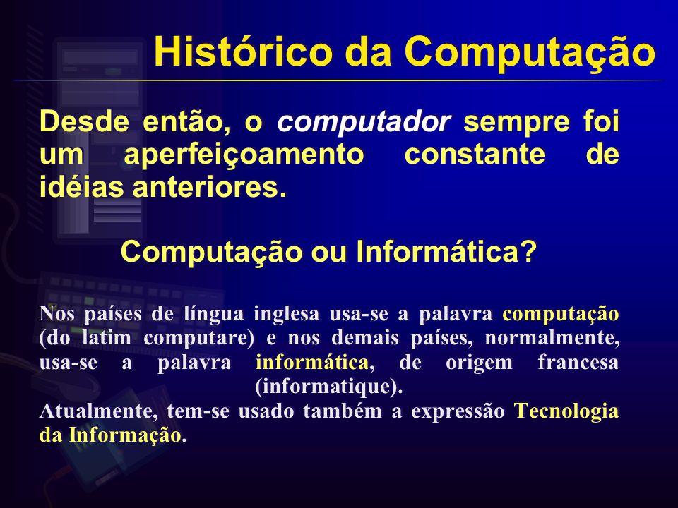 Desde então, o computador sempre foi um aperfeiçoamento constante de idéias anteriores.