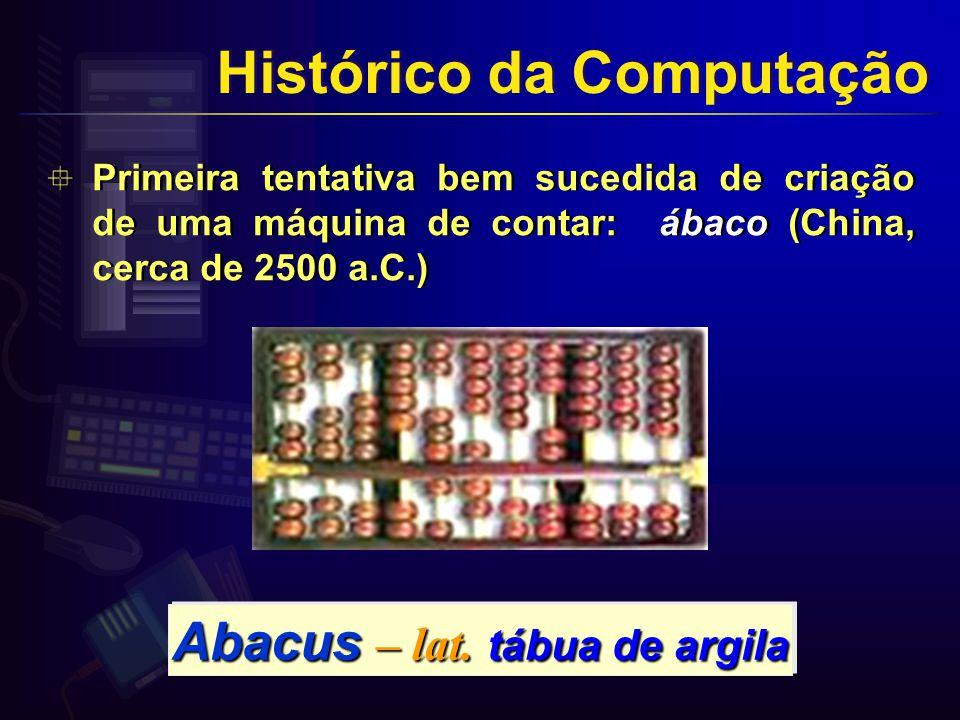 Primeira tentativa bem sucedida de criação de uma máquina de contar: ábaco (China, cerca de 2500 a.C.) Abacus – lat.