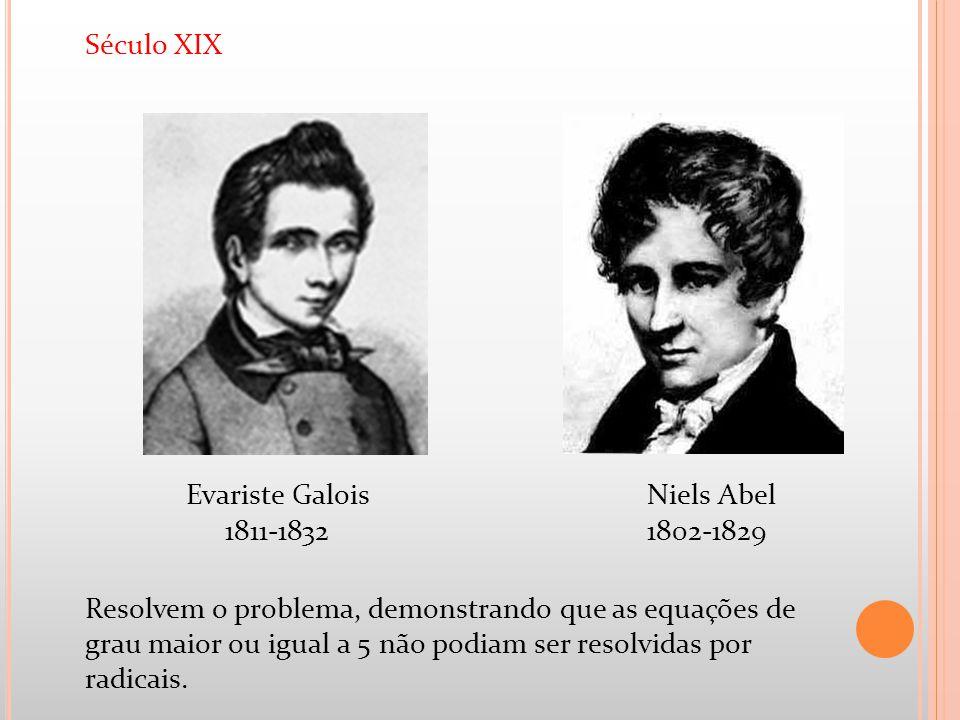 Século XIX Resolvem o problema, demonstrando que as equações de grau maior ou igual a 5 não podiam ser resolvidas por radicais. Niels Abel 1802-1829 E