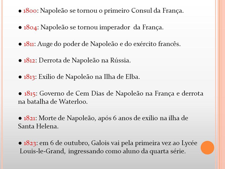 1800: Napoleão se tornou o primeiro Consul da França. 1804: Napoleão se tornou imperador da França. 1811: Auge do poder de Napoleão e do exército fran