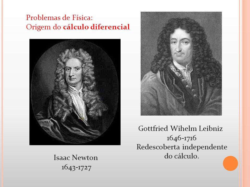 Gottfried Wihelm Leibniz 1646-1716 Redescoberta independente do cálculo. Isaac Newton 1643-1727 Problemas de Física: Origem do cálculo diferencial