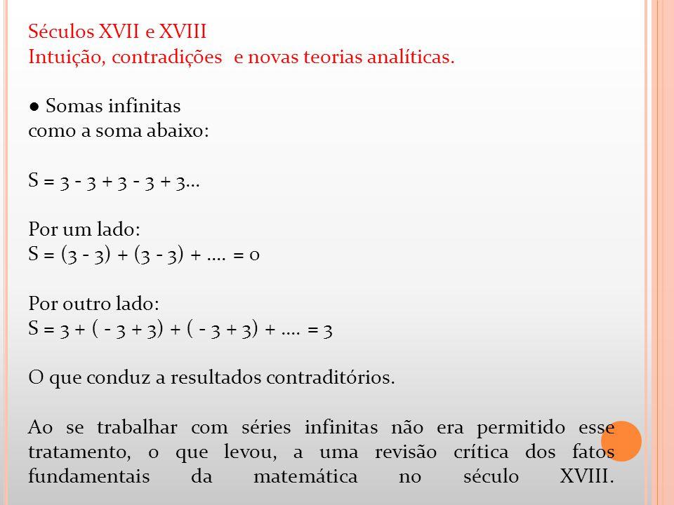 Séculos XVII e XVIII Intuição, contradições e novas teorias analíticas. Somas infinitas como a soma abaixo: S = 3 - 3 + 3 - 3 + 3... Por um lado: S =