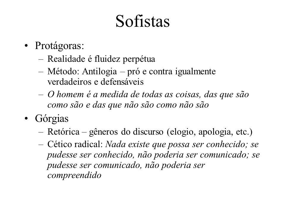 Sofistas Protágoras: –Realidade é fluidez perpétua –Método: Antilogia – pró e contra igualmente verdadeiros e defensáveis –O homem é a medida de todas