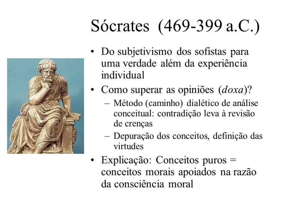 Sócrates (469-399 a.C.) Do subjetivismo dos sofistas para uma verdade além da experiência individual Como superar as opiniões (doxa)? –Método (caminho